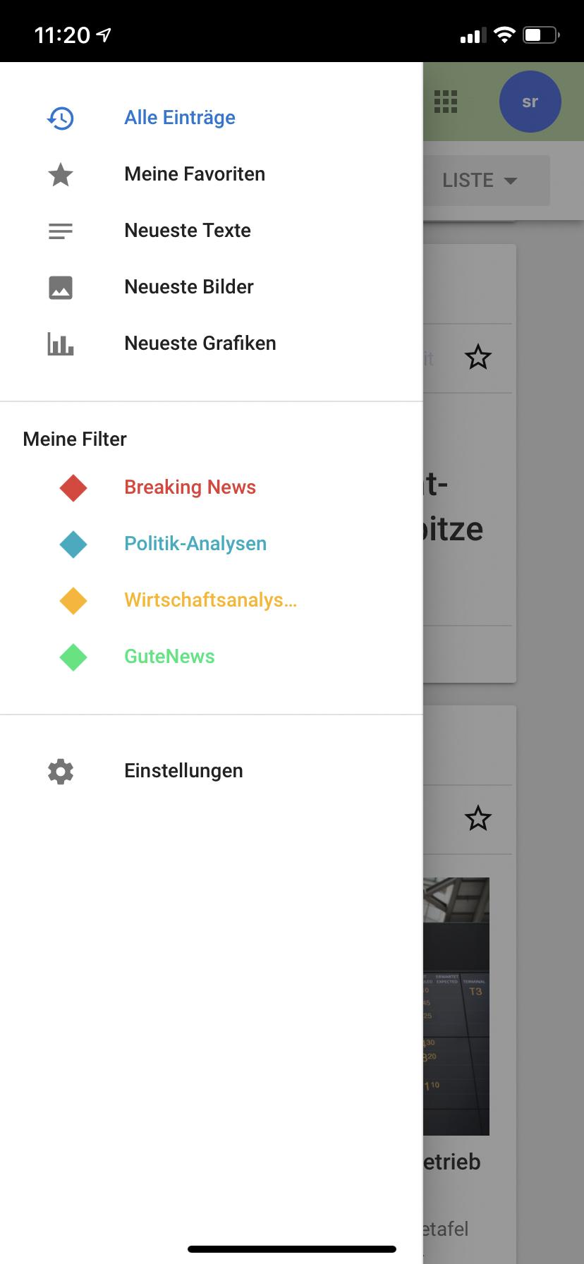 Eigene Filter dpa News-Ticker