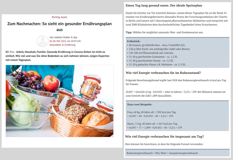 Gesunde Ernährung Screenshot Badische Zeitung Drive