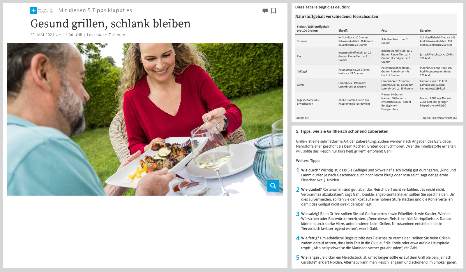 Grillen gesunde Ernährung Screenshot Aachener Zeitung Drive
